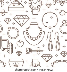 Jewelry seamless pattern, line illustration. Vector icons of jewels accessories - gold engagement rings, diamond, pearl necklaces, charms, watches. Fashion store white repeated background.