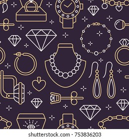 Jewelry seamless pattern, line illustration. Vector icons of jewels accessories - gold engagement rings, diamond, pearl necklaces, charms, watches. Fashion store dark repeated background.