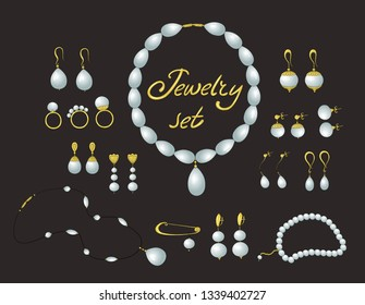Jewelry set. Gold and pearls jewelry isolated, bijouterie, jewellery. Earring, ring, bracelet.