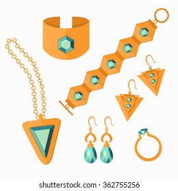 Jewelry set isolated on white background. Gold necklace, ring, earrings, bracelets. Flat vector illustration