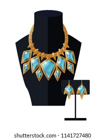 Jewelry set necklace precious blue stones on black mannequin and earrings, expensive accessory item isolated on white. Gold chain with aquamarines vector