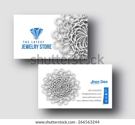 Jewelry Shop Business Card Vector Template Stock Vector Royalty