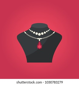 Jewelry shop concept. Jewelry pendant. Precious necklaces with diamond.