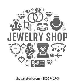 Jewelry shop, diamond accessories banner illustration. Vector silhouette icon of jewels - gold engagement rings, earrings, silver necklaces, charms bracelets, brilliants Fashion store circle template.