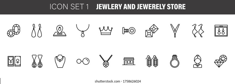 Jewelry and Jewelry shop, diamond accessories banner illustration. Vector line icon of jewels - rings, gem earrings, necklaces, charms bracelets, brilliants.