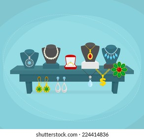Jewelry shop display concept with silver gold wedding jewellery vector illustration