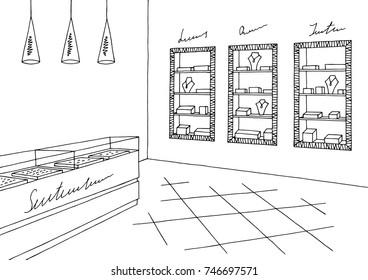 Jewelry shop graphic black white interior sketch illustration vector
