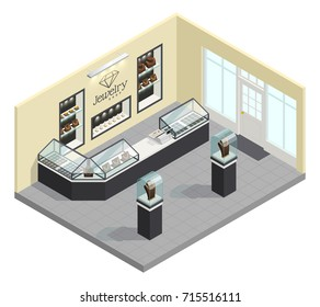 Jewelry shop isometric interior with female adornments in glass showcases without seller and buyers vector illustration
