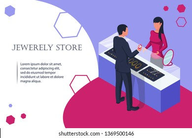 Jewelry shop. Man buys a wedding ring at store. Vector illustration flat design. Isolated background. Web banner, template for design and promotion. Sale of jewelry. Showcase in the store to buy gold.