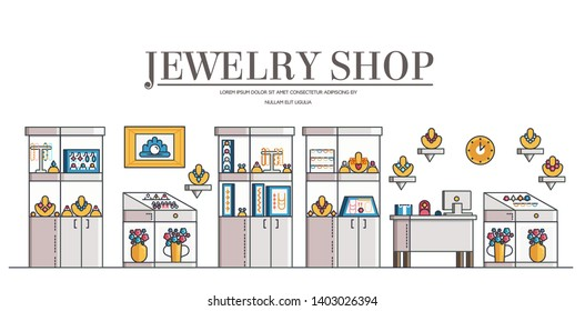 Jewelry shop or store interior with showcases, cashier desk, counters, mannequins. Modern boutique with gemstones, gold, silver things, bijouterie for casual, wedding, holidays. Vector flat design.