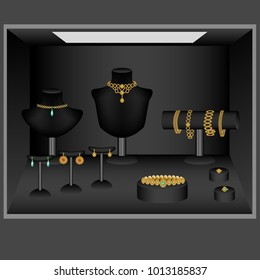 Jewelry showcase, jewelry jewelry jewelry, gold, gemstones, emeralds, rubies, diamonds, vector illustration, holders and stands for necklaces, necklaces, earrings, bracelets.