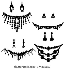 jewelry silhouettes: necklace earrings
