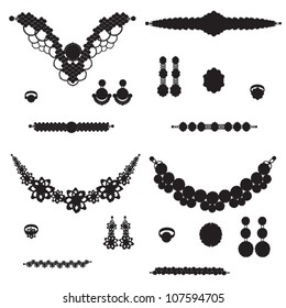 jewelry silhouettes: necklace ring earrings brooch and bracelets
