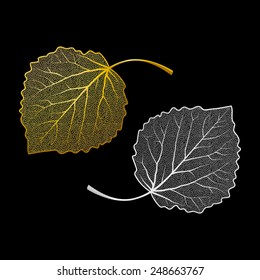 Jewelry silver and gold skeletons of leaves. Isolated vector illustration for your card, invitation and other decor design.