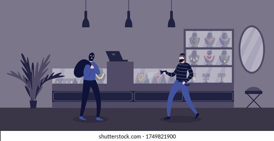 Jewelry store robbery criminal scene with burglars men cartoon characters, flat vector illustration. Bandits or thefts robbing a shop of gold and jewelry.