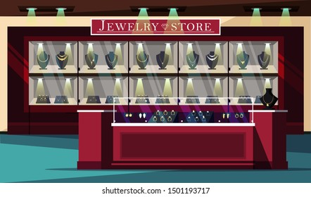 Jewelry store showcase flat vector illustration. Jewels shop banner template. Bijouterie and gems boutique advertising poster layout. Precious stones sale. Wedding rings, gold and silver necklaces