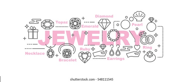 jewelry vector banner design concept, flat style with thin line art icons on white background