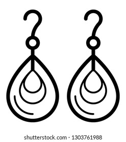 Jewelry vector, dangle earring icon