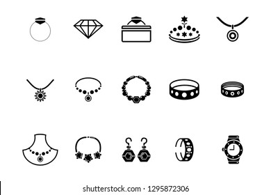 Jewelry Vector Icons set. Including Ring, Necklace, Bracelet, Diamond and more