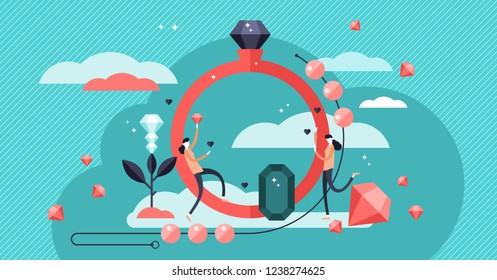 Jewelry vector illustration. Expensive stone ring and necklace industry. Diamonds are girls best friends visualization. Wedding, engagement and rich people symbol. Stylized banner with satisfied woman