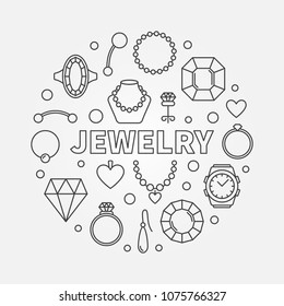 Jewelry vector minimal round illustration made with icons of rings, earrings, necklaces and other jewellery accessories