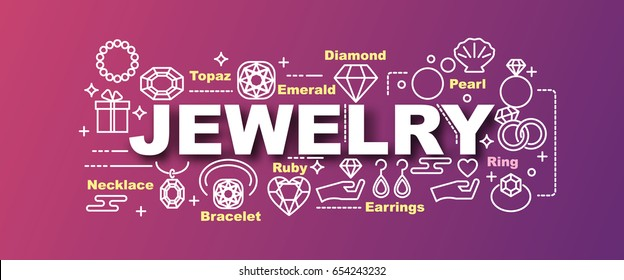 jewelry vector trendy banner design concept, modern style with thin line art icons on gradient colors background
