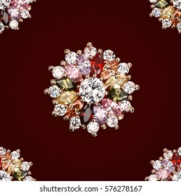 jewelry vintage flower big crystal crystal