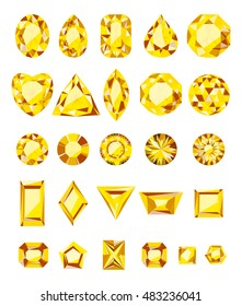 The jewels, alexandrite yellow, set on a white background. Vector illustration