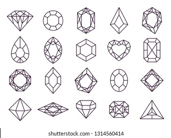Jewels diamond icons. Diamonds gems, luxury jewel gemstones and precious gem. Crystal gemstone, jeweler gems precious or jeweller brilliant treasure. Isolated vector line icon set