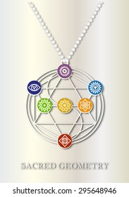 Jewels, sacred geometry. The Tree of Life. Alchemist, Buddhist and Tantric symbol made of white gold with the seven chakras on gemstones.