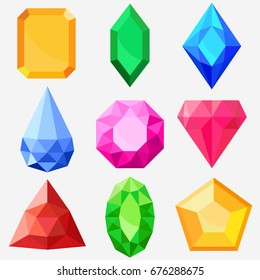 Jewels set, gems and diamonds icons isolated, different colors flat design. Vector