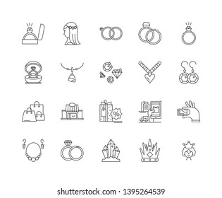 Jewerly business line icons, signs, vector set, outline illustration concept