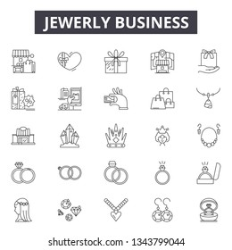Jewerly business line icons for web and mobile design. Editable stroke signs. Jewerly business  outline concept illustrations