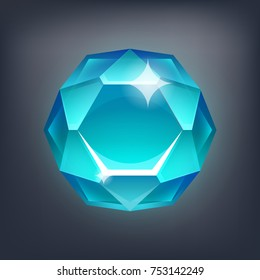 Jewerly cartoon stone, gem for game. Vector illustration.