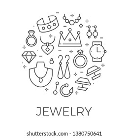 Jewerly Outline Background. Thin Line Luxury Symbols Design for Website