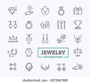 Jewerly Outline Icons Set. Thin Line Luxury Symbols Design for Website