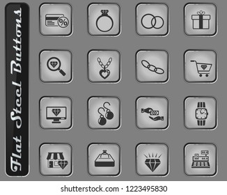 jewerly store vector web icons on the flat steel buttons