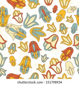 jewish abstract pattern with hamsa