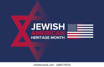 Jewish American Heritage Month. Celebrated in May. Annual recognition of Jewish American achievements in and contributions to the United States of America. Poster, card, banner and background. Vector