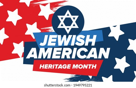 Jewish American Heritage Month. Celebrated annual in May. Jewish American contribution to the history United States. Star of David. Israel symbol. Poster, card, banner and background. Vector