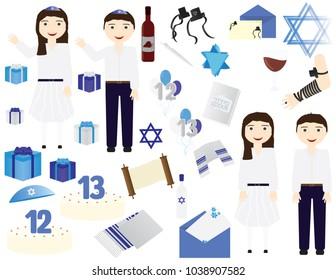 Jewish Bar mitzvah Bat mitzvah vector icons elements. Jewish girl celebrating 12th birthday,  Jewish boy celebrating 13th birthday