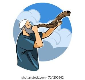Jewish Blowing Shofar