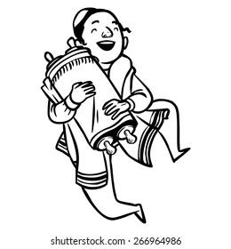 jewish boy dancing with Torah