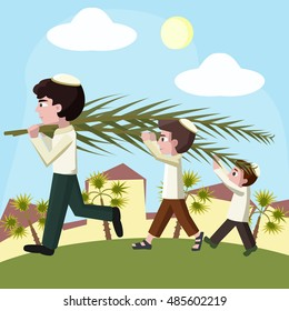 Jewish boys building tabernacles, sukkot holiday illustration