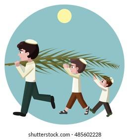 Jewish boys building tabernacles, sukkot greeting card