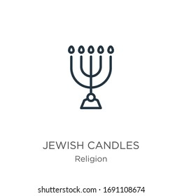 Jewish candles icon. Thin linear jewish candles outline icon isolated on white background from religion collection. Line vector sign, symbol for web and mobile