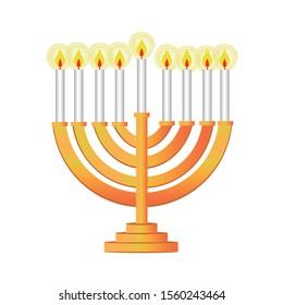 Jewish chandelier. Seven-sail chandelier. Symbol of the hanukkah party. Editable vector.