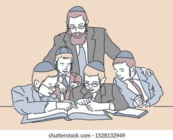 Jewish children study. Vector illustration