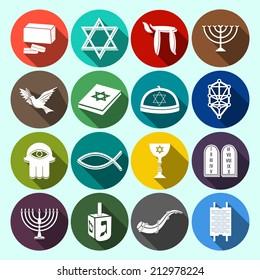 Jewish church traditional religious symbols flat icons set with torah david star dreidel isolated vector illustration