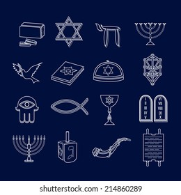 Jewish church traditional religious symbols outline icons set isolated vector illustration